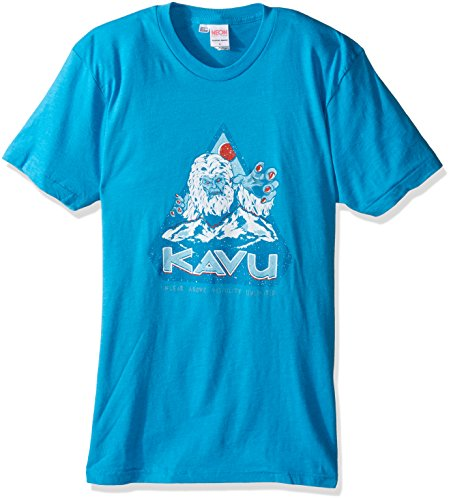 KAVU Men's Yeti T-Shirt, Neon Blue, X-Large