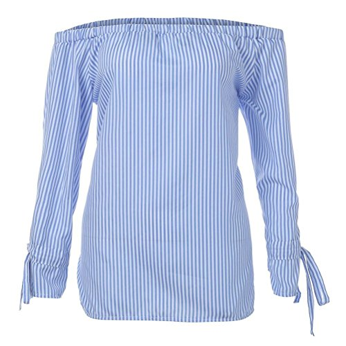 Haut Rameng Femme Bleu Taille Chemisier Rayure Epaule Denudee Femme Grande Longue Shirt T Manche Aqd6qwr