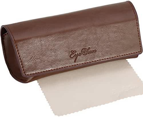EyeSun Leather Large Eyeglasses Sunglasses Case with Free Cleaning Cloth