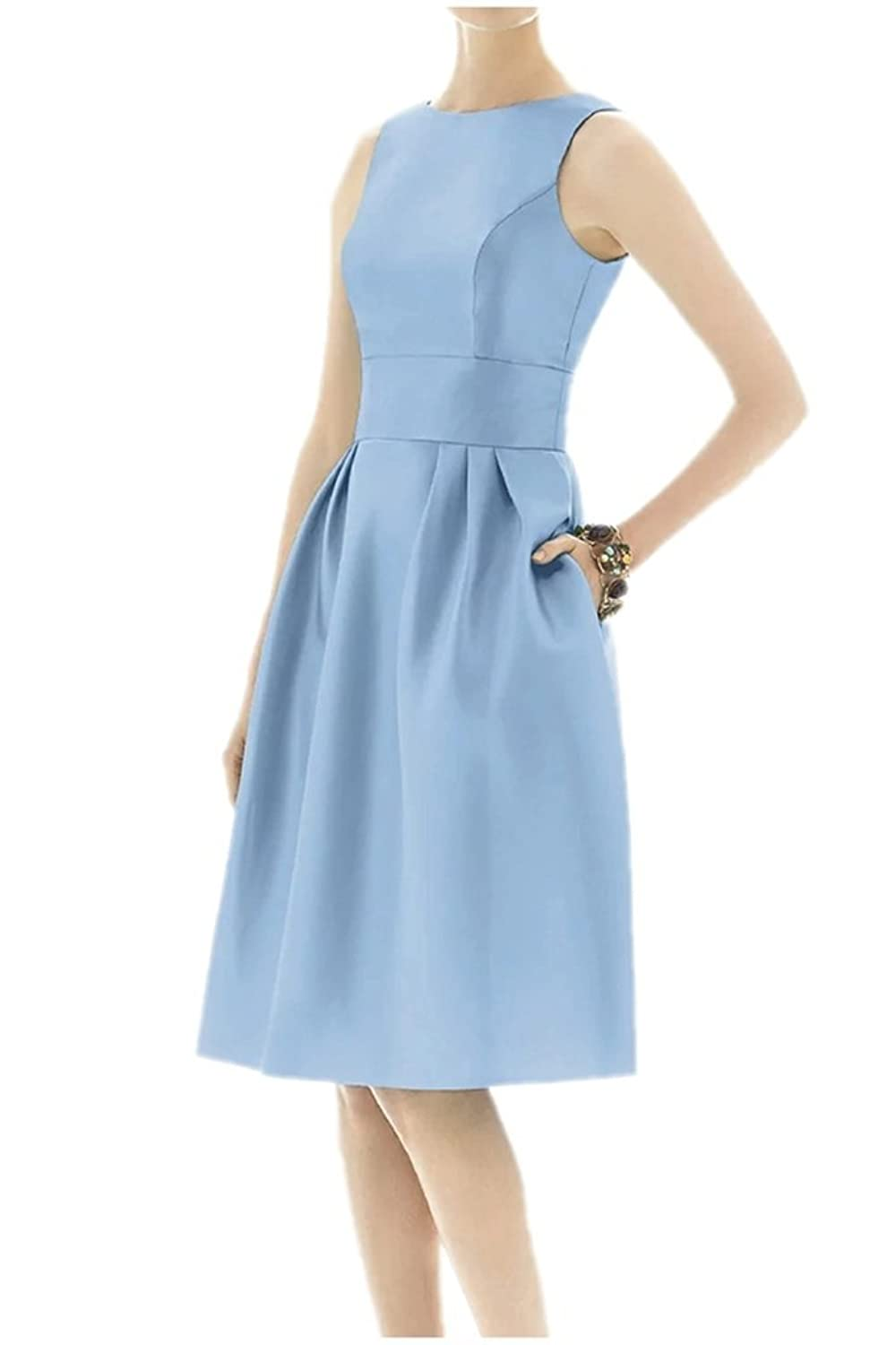 Charm Bridal Short Solid Blue Brief Women Satin Formal Party Dress with Pockets