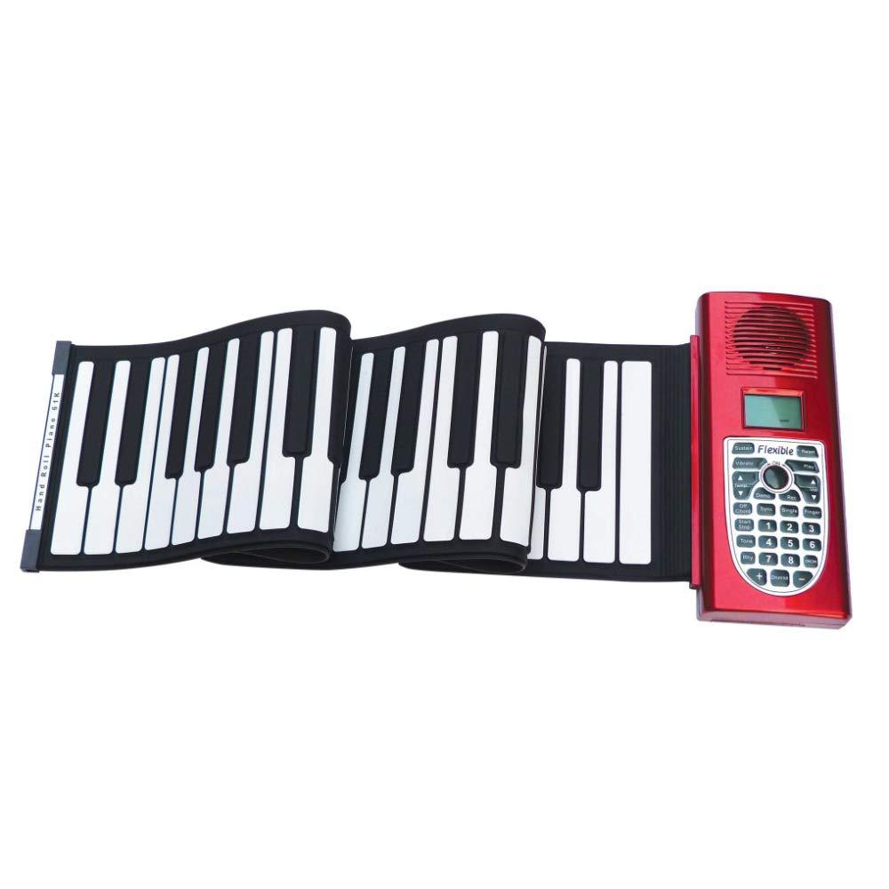 XLLLL Hand Rolle Klavier 61 Tasten Dicke Silikon Tastatur Tragbare Klapp Tastatur Kinder Erwachsene Anfänger Musikinstrument