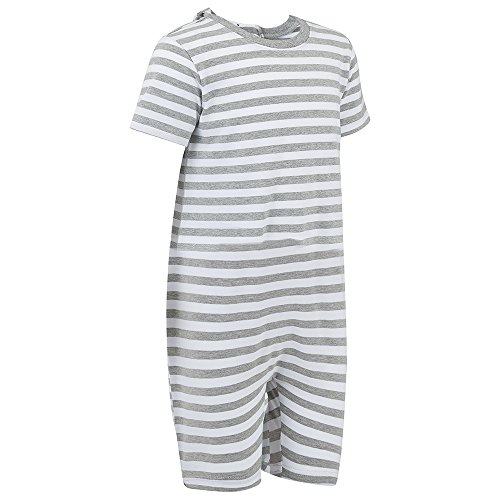 Back Zip Suit (Special Needs Clothing for Older Children (3-16 yrs Old) - Zip Back Jumpsuit for Boys & Girls by KayCey - Grey/White Stripe (3-4 Years Old))