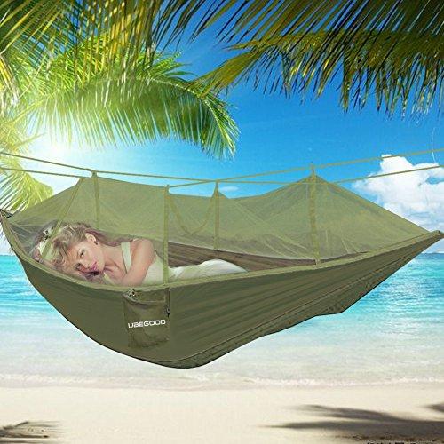 Hängematte , Ubegood [Belastung 200KG] Tragbaren Parachute Hängematte mit Moskitonetz [260 x130 cm] für Outdoor / Camping / Reisen (ArmeeGrün)