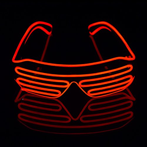 Led Light Up Neon Shutter Party Glasses for Parties Decorations(Red) by iChase