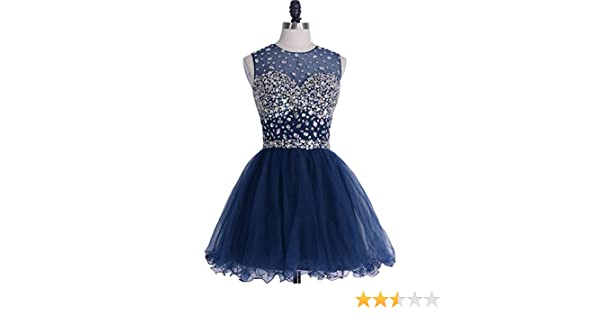 Amazon.com: VILAVI Womens A-line Short Tulle Open Back Prom Dresses 10 Dark Navy: Clothing