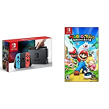 Nintendo Switch Console - Neon Edition with Mario + Rabbids Kingdom Battle