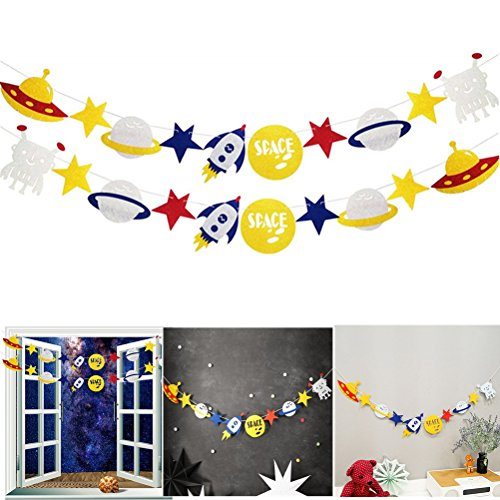 SUSHAFEN 2Set Outer Space Rocket Alien Banner Kids Birthday Party Decorations Alien Theme Party Supplies Halloween Banner Decoration