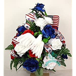 XL Patriotic 3 inch Cemetery Vase Arrangement in Red, White and Blue Roses 2