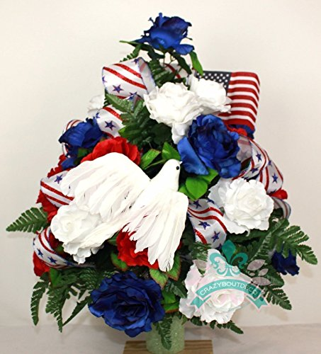 XL Patriotic 3 inch Cemetery Vase Arrangement in Red, White and Blue ()