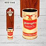 Wall Mounted Bottle Opener with Vintage Yuengling Red Eagle Beer Can Cap Catcher
