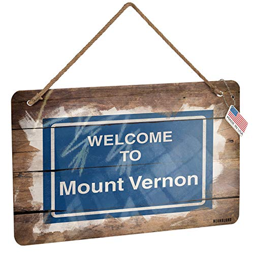 NEONBLOND Metal Sign Sign Welcome to Mount Vernon Christmas Wood Print