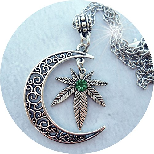 grOOvy empOrium Filigree Crescent Moon w-Marijuana Leaf & Swarovski Emerald Crystal, Hemp, Cannabis, 420, Pot, Weed Lover Gift, Ganja, Mary Jane - Pot Mary Leaf Jane