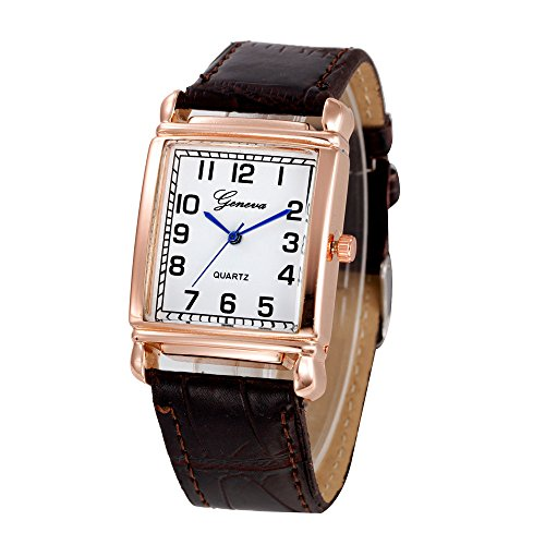 Women Quartz Watch Hosamtel Ladies Casual Faux Leather Checkers Rectangle Dial Analog Watch (Brown)