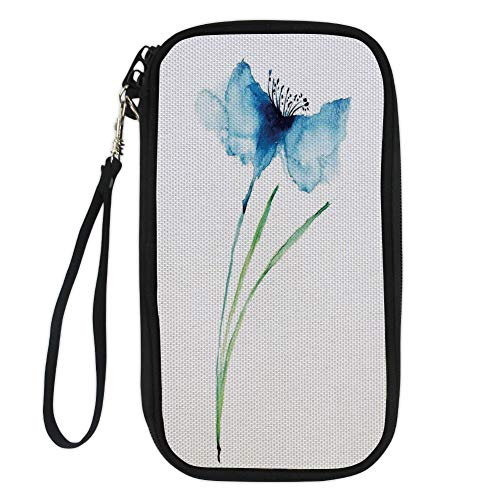 iPrint Watercolor Flower,Petite Tall Cornflower Summer Botanic Floral Blooming Plants Artsy Print,Navy White Green for Women Canvas Document Organizer Clutch (Bills Petite Purse)