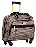 Nicole Miller Taylor Carry On Spinner Briefcase (Black/Burgundy Plaid)