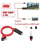 Lukka 1080P Mobile Phone to HDMI Cable for iOS and Android Devices to HDTV, Universal Phone to HDTV Adapter for All iPhones and Android,Plug and Play (3FT RED)