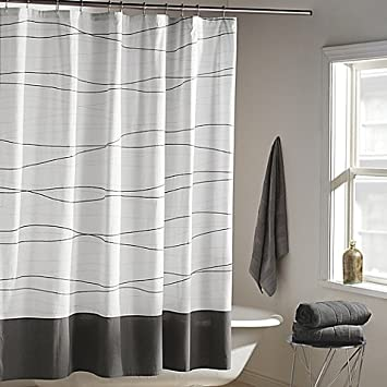 Amazon.com: DKNY Wavelength Shower Curtain in Grey   100% cotton ...
