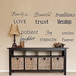 LUCKKYY Family Wall Decal Set of 12 Family Words Quote Vinyl Family Wall Decal Family Room Art Decoration Living Room Decor Decoration for Home Decor