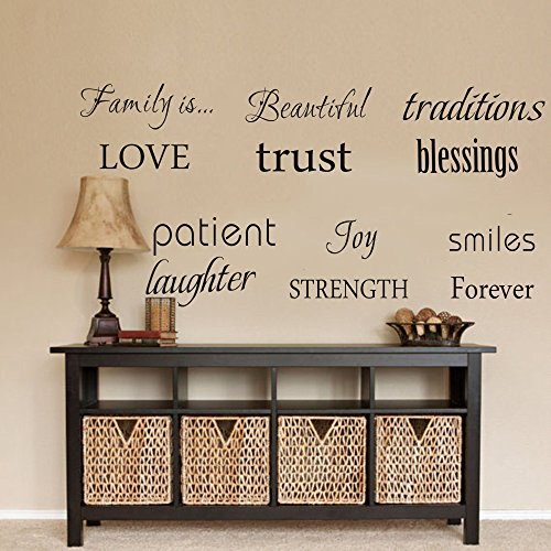 Decal Room Decor (LUCKKYY Family Wall Decal~ Set of 12 Family Words Quote Vinyl Family Wall Decal Family Room Art Decoration Living Room Decor Decoration for Home Decor)