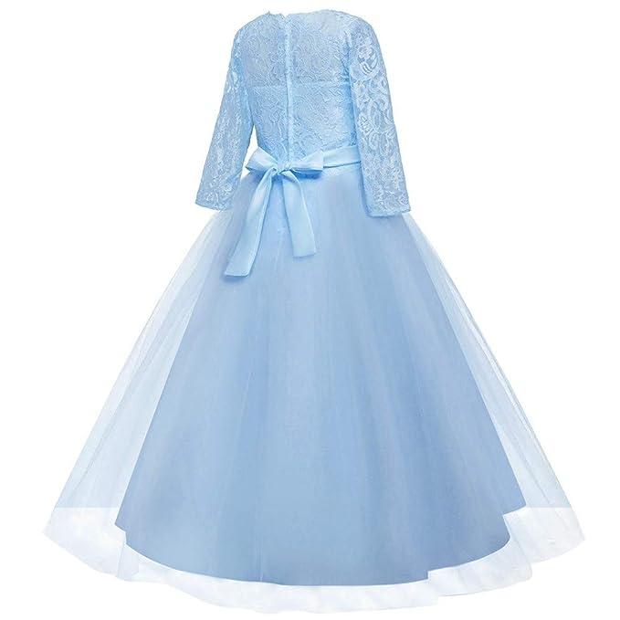 Longra Vestito in Pizzo da Bambino Ragazza Elegante Costume da Principessa  Partito Compleanno Bambini Vestito Carnevale Cosplay Abito da Cerimonia  Bambina  ... cd618fd19ec