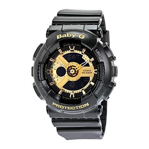 Casio Women's BA-110-1ACR Baby-G Goldtone Analog-Digital Display and Black Resin Strap Watch from Casio