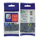 P-touch Label Tape TZe-411 black on red size of (0.24''x26.2ft) compatible for Brother GL100,PT200, PT1000, PT1000BM, PT1010, PT1010B, PT1010NB, PT1010R, PT1010S, PT1090, PT1090BK, PT1100, PT1100SB, PT1100SBVP, PT1100ST, PT1120, PT1130, PT1160, PT1170, PT1170S, PT1180