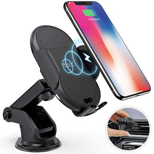 Megwoz Wireless Car Charger Mount, 7.5W 10W Fast Charging, Auto-Clamping, Dashboard Air Vent Phone Holder Mount, Compatible iPhone Xs Xs Max XR X 8 8 , Samsung Note 9 8 7 S9 8 7 Qi Enabled Devices