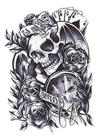 Hb 049 Tatouage Noir Skull Skull Rose Cartes A Jouer Horloge