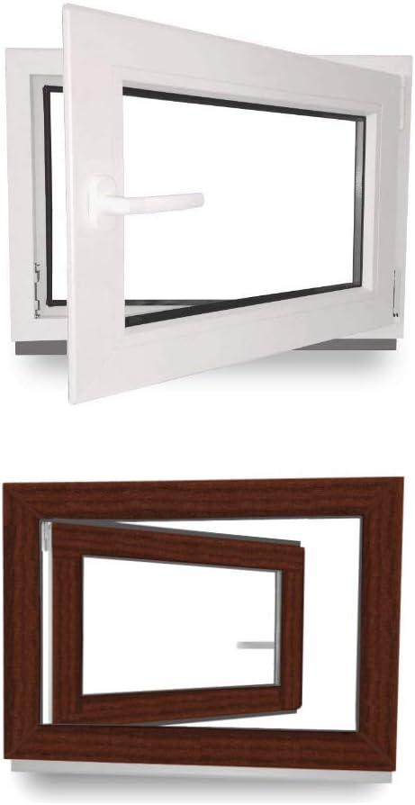 DIN Rechts Kellerfenster Kunststoff wei/ß 60 mm Profil 1000 x 400 mm Fenster 3 fach Verglasung BxH: 100 x 40 cm