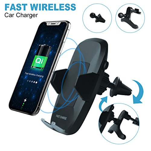 Price comparison product image Wireless Car Charger, Hizek Qi Fast Charger Car Mount 10w Air Vent 360° Rotation Charging Station with LED Light for Samsung Galaxy S8/S8+/S7 Edge/S6 Edge+/Note 5/iPhone 8/8+, iPhone X, Qi-Enabled