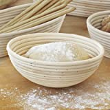 22x8.5cm Round Multiple Shape Sourdough Brotform Bread Proofing Proving Rattan Banneton Basket Bonus With Free Cloth Linen 8.5 Inch