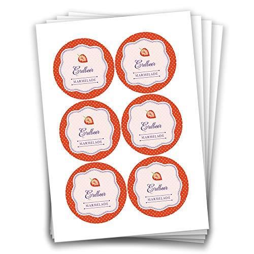Aufkleber 4 cm f/ür selbstgemachte Marmelade zum Basteln und Dekorieren Papierdrachen 24 Erdbeer Marmeladensticker Design 11