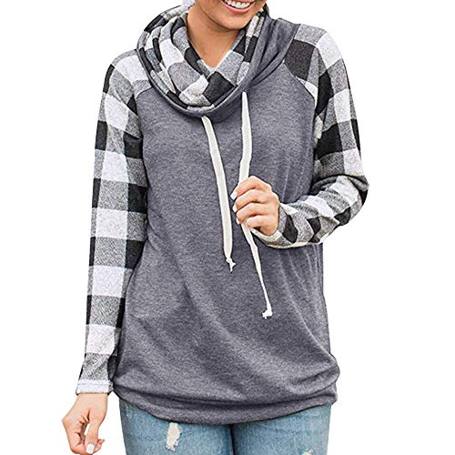 Sweater for Womens, FORUU Ladies 2018 Winter Sale Christmas Thanksgiving Friday Monday Under 10 Best Gift for Her Turtleneck Tops Plaid Shirts Tunic Long Sleeve Pullover Sweatshirt GY/S