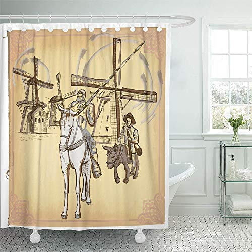 Emvency Shower Curtain Set Waterproof Adjustable Polyester Fabric Colored Line Don Quijote Quixote Freehand Sketch of Knight in Front Windmills 72 x 78 Inches Set with Hooks for Bathroom
