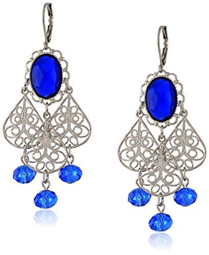 1928 Jewelry Silver-Tone Blue Crystal Filigree Drop Earrings