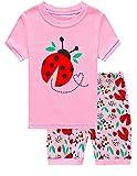 Dhasiue Girls Pajamas Toddler Kids Shorts Sets 100% Cotton Sleepwear Summer Clothes for Age 1-6 Years