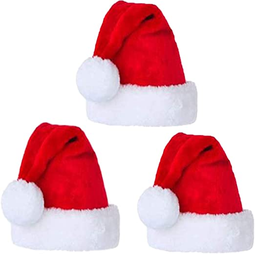 5 pcs Santa Hat Comfort Christmas Hats Adults Kids Winter Xmas Cap Classic Red