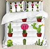 Cactus Queen Size Duvet Cover Set by Ambesonne, Digitally Composed Barrel Echino Chin Hedge Cephalocereus Cactus Varieties Cartoon, Decorative 3 Piece Bedding Set with 2 Pillow Shams, Multicolor