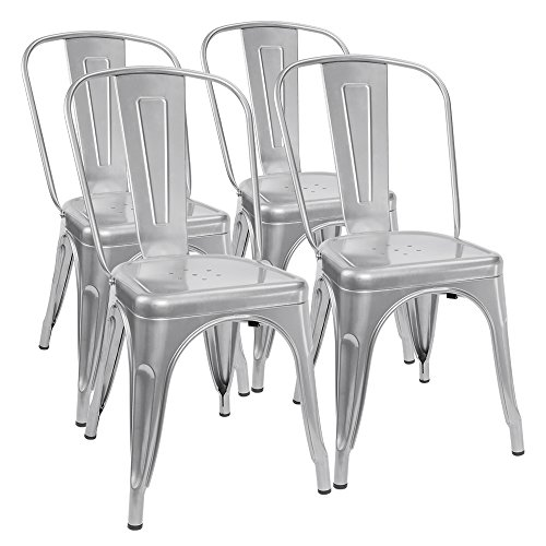 Furmax Metal Dining Chair Tolix Style Indoor-Outdoor Use Stackable Chic Dining Bistro Cafe Side Metal Chairs Silver (Set of 4) - 18' Heavy Duty Stool
