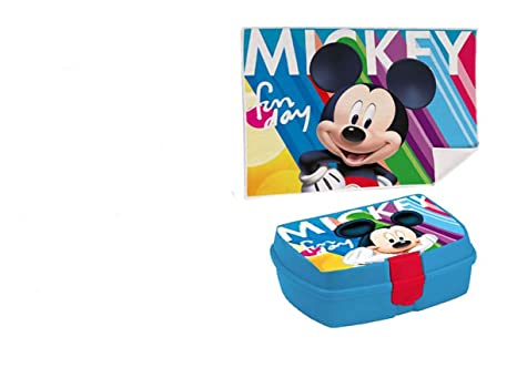 Kids Euroswan Set con Sandwichera y Toalla de 30 x 40 cm, Estampado Mickey Mouse