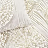 Lush Decor Serena Comforter Ivory Ruched Flower 3