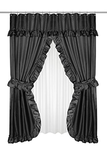 """Royal Bath Double Swag Diamond Piqued PEVA non-Toxic Shower Curtain (70"""" x 72"""") with Matching Window Curtain (70"""" x 45"""") - Light Blue - Black"""