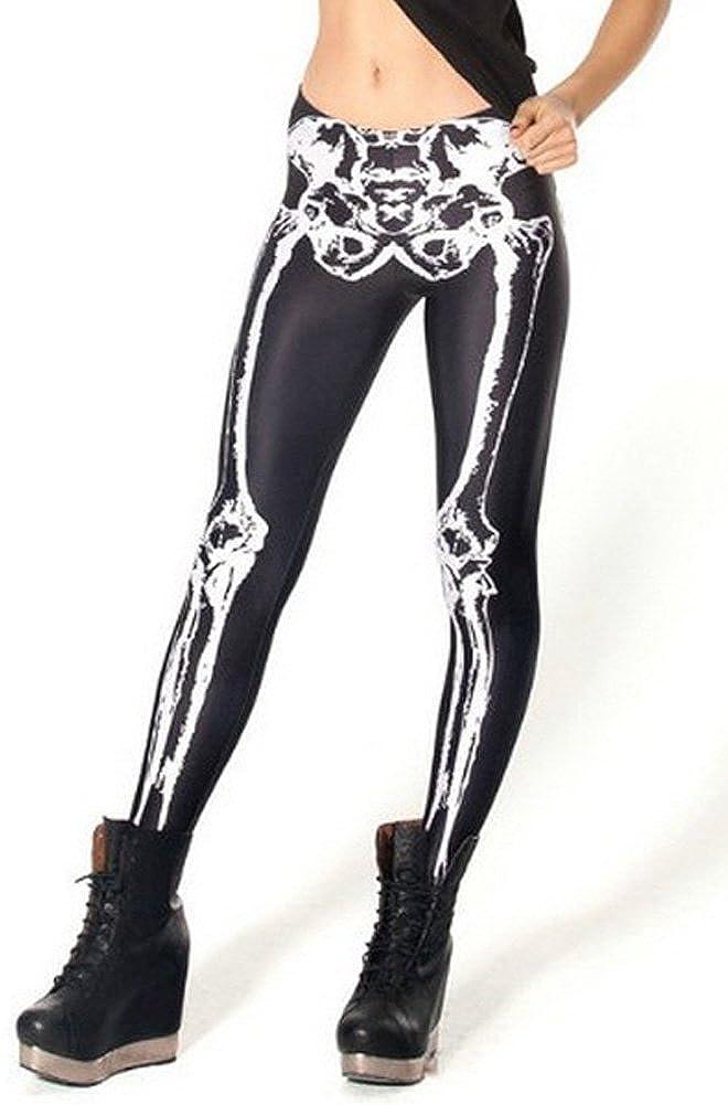 Woman Skeleton Digital Printed Pants Black Bone Plus Size east-leg-009