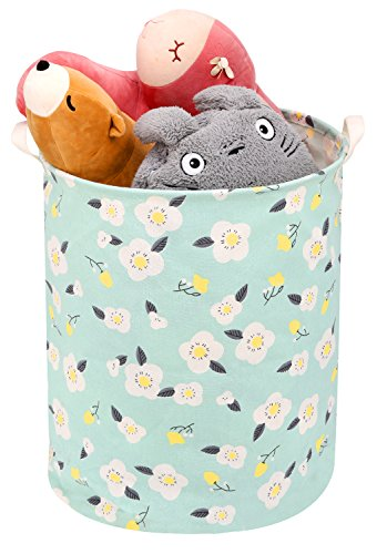 Toy Storage Bin / Laundry Hamper, Zooawa Large Collapsible Organizer Bin Waterproof Foldable Standing Toy Chest Basket with Handles - Light Green Print