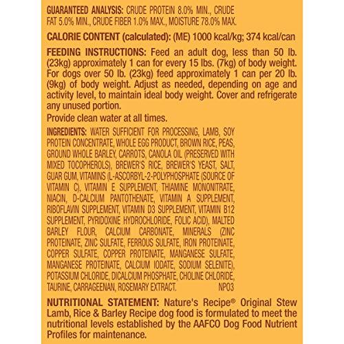 Nature's Recipe Wet Dog Food, Lamb, Rice & Barley