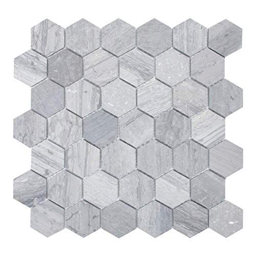 "Cooper 10-Pack Mosaic Wall and Floor Tile | 12"" x 12"" Mini Hexagonal Honeycomb Pattern 