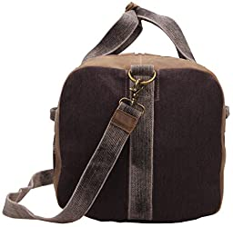 Iblue Weekend Travel Duffel Bag Sports Overnight Tote Luggage Canvas Leather Trim Shoulder Handbag X-Large#10183(dark coffee)