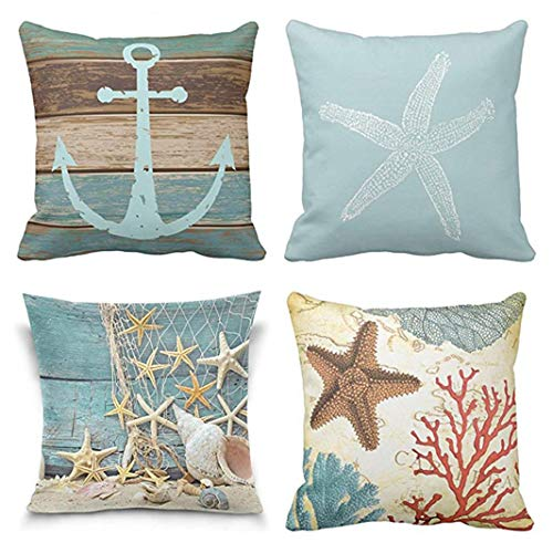 (Emvency Set of 4 Throw Pillow Covers Starfish Fish Turquoise Nautical Anchor Weathered Wood Coastal Old Green Decorative Pillow Cases Home Decor Square 16x16 Inches Pillowcases)