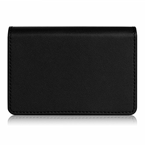 Business card holder, FYY 100% Handmade Premium Leather Business Name Card Case Universal Card Holder with Magnetic Closure (Hold 30 pics of cards) Black Photo #3