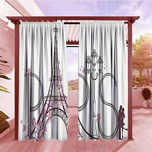 AndyTours Cortina para puerta corredera Paris City Decor Collection Paris Torre Eiffel con hojas de otoño en efecto de dibujo artístico Holiday Landmark Imagen eficiente energéticamente, color marfil oscurecimiento: Amazon.es: Jardín